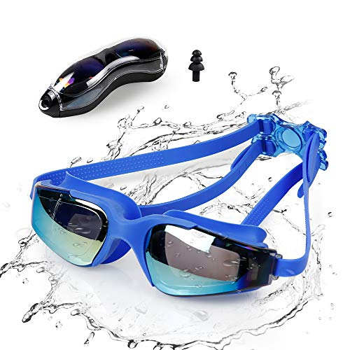 Swim Goggles, Swimming Goggles Glasses Adults Kids Boys Girls with Case (Blue)