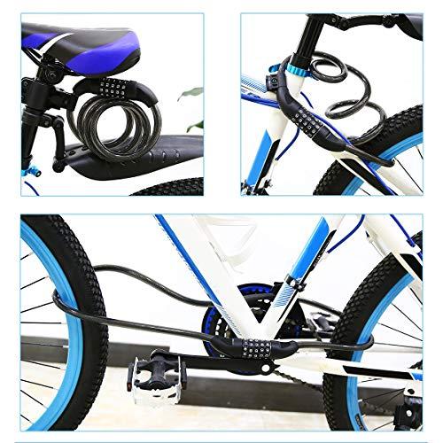 Fahrradschloss, hohe Sicherheit 5-stellige Kabelschloss Kombination Coiling Fahrradschloss mit Halterung, 1.2m x 12mm Kettenschlösser Beste für alle Fahrrad, Motorrad, Tor, Zaun - 5