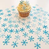 "48pcs 1.6"" Christmas Wafer Edible Snowflakes Cupcake & Cake Toppers Decoration for Winter Frozen Theme Party"