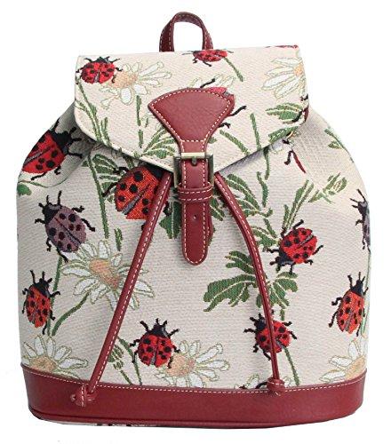 Signare Modischer Damen Rucksack aus Leinengewebe mit kleinen Klappschnallen Stil Marienkäfer