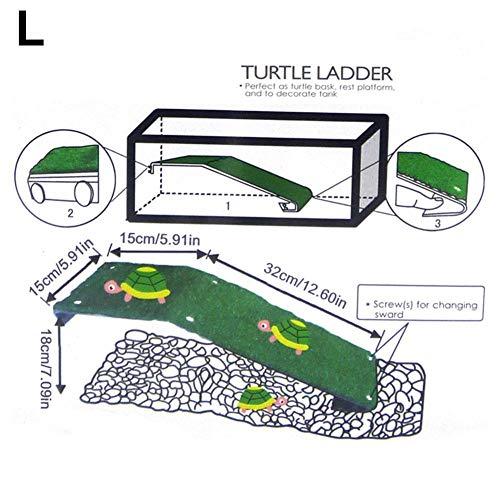 Draulic Turtle Drying Platform Turtle Kletterleiter Reptilienschildkröte -Aquarium Aquarium Simulierte Rasen Landschaftsbau Habitat Dekor
