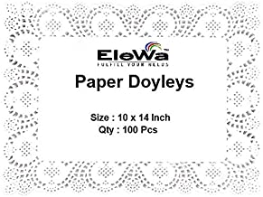 EleWa Rectangle Doily Paper Mats/Lace Doilies/Doyley Paper, Cake Decoration Liner - 100 Pcs (Off-White, 10 x 14 Inch)