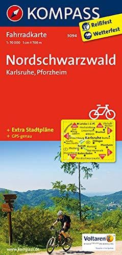 KOMPASS Fahrradkarte Nordschwarzwald - Karlsruhe - Pforzheim: Fahrradkarte. GPS-genau. 1:70000 (KOMPASS-Fahrradkarten Deutschland, Band 3094)
