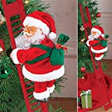 Electric Climbing Ladder Santa Claus Decorative Ornament for Xmas Tree Santa Climbing Ladder Hanging Christmas Ornament for Party Gift for Kids