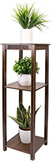 UNHO Bamboo Plant Stands Indoor, 3 Tier Tall Corner Plant Stand Holder Plant Display Rack 25x25x100CM