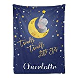 Qearl Navy Elephant Twinke Twinkle Little Star 2 Personalized Baby Blanket with Name for Boys Girls,Custom Throw Blanket Super Soft for Crib,Outdoor,Indoor 30x40 Inches, Option 5