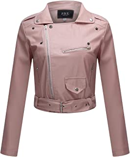 Women's Zipper Motorcycle Biker Faux Leather Jackets Coat Slim Tailoring PU Short Jacket Perfectly Shaping Punk Cropped Tops