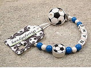 kleinerStorch kleinerStorch Baby SCHNULLERKETTE mit Namen - Motiv Fussball in Vereinsfarben - blau, weiß