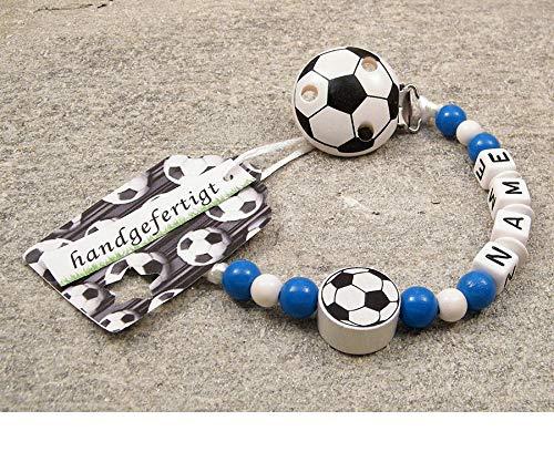 kleinerStorch Baby SCHNULLERKETTE mit Namen - Motiv Fussball in Vereinsfarben - blau, weiß
