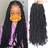 Xtrend 6 Packs New Faux Locks Crochet Braids Hair 22 Inch Soft Locks Crochet Hair Extend Synthetic Dreadlocs Hair 21Strand/Pack Soft Goddess Curly Wavy Locs Hair for Women 1B#