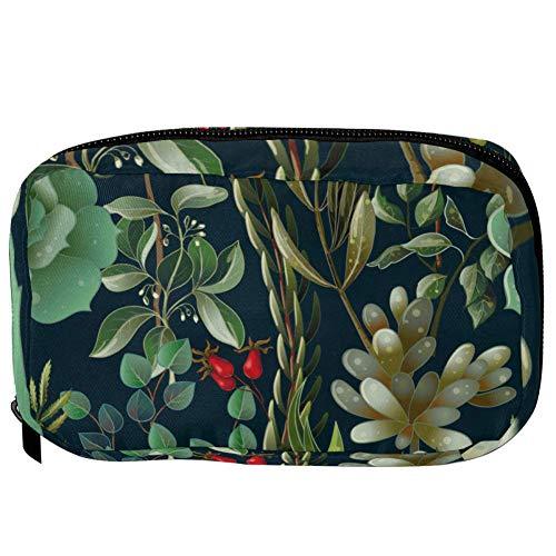 TIZORAX cosmeticatasjes vintage bladeren met roze mobiele telefoon toiletry reistas organizer make-up tas voor vrouwen meisjes 16×6.3×9cm Patroon 10
