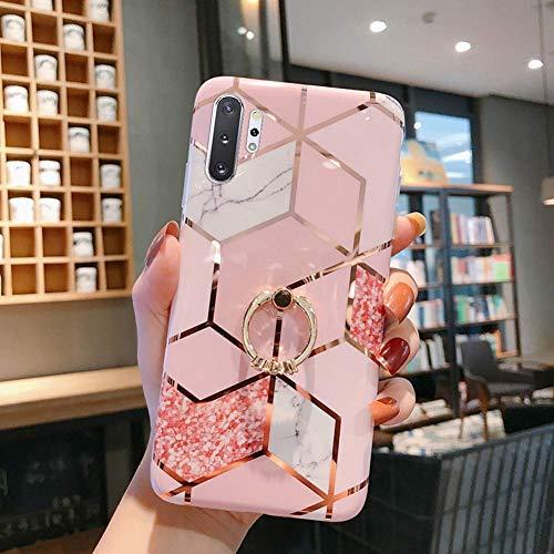 Uposao Coque pour Galaxy Note 10 Plus Coque Girly Case 3D Motif Géométrique Marbre Design avec Support Téléphone Diamant Strass Coque Silicone Gel TPU Flex Soft Skin Etui pour Galaxy Note 10 Plus,#2