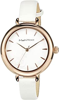 MehYoo Rose Gold Watches for Women, Waterproof White Leather Watch Japan Quartz Movement