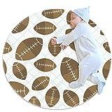 Tapis de jeu rond pour bébé - Motif ballon de rugby