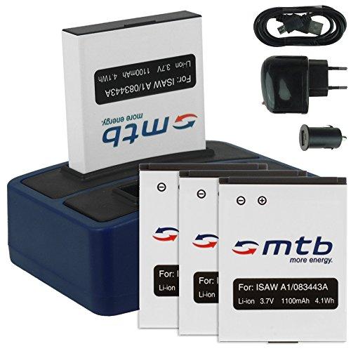 4X Akku + Dual-Ladegerät (Netz+Kfz+USB) für ISAW 083443A / A1, A2 Ace, A3, Advance, Extreme/ACTIONPRO X7