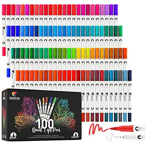 Zenacolor - Rotulador Doble Punta - 100 Colores Únicos y Vivos - Rotuladores Profesionales Fino (0,4mm) y Grueso (0,8mmm) - Caligrafía, Dibujo, Coloreado para Adultos, Mandalas