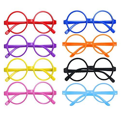 Integrity.1 Marco de Gafas Redondo sin Lentes,16 Piezas Marco de Anteojos de Color,Gafas de Mago de Plástico ,para Fiesta Temática Disfraces Halloween