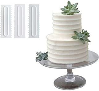 MomentDAY 3 PCS Shape White Cake Decorating Icing Smoother Cake Butter Scraper Pastry Baking Tool (White)