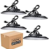 bulbeats 200W LED High Bay Light Fixture 24000lm (Eqv.800W MH/HPS) High Bay LED Light, Non-Dim, 5000K Daylight, 5' Cable with US Plug Commercial Warehouse/Workshop/Wet Location Area Light 4Pack