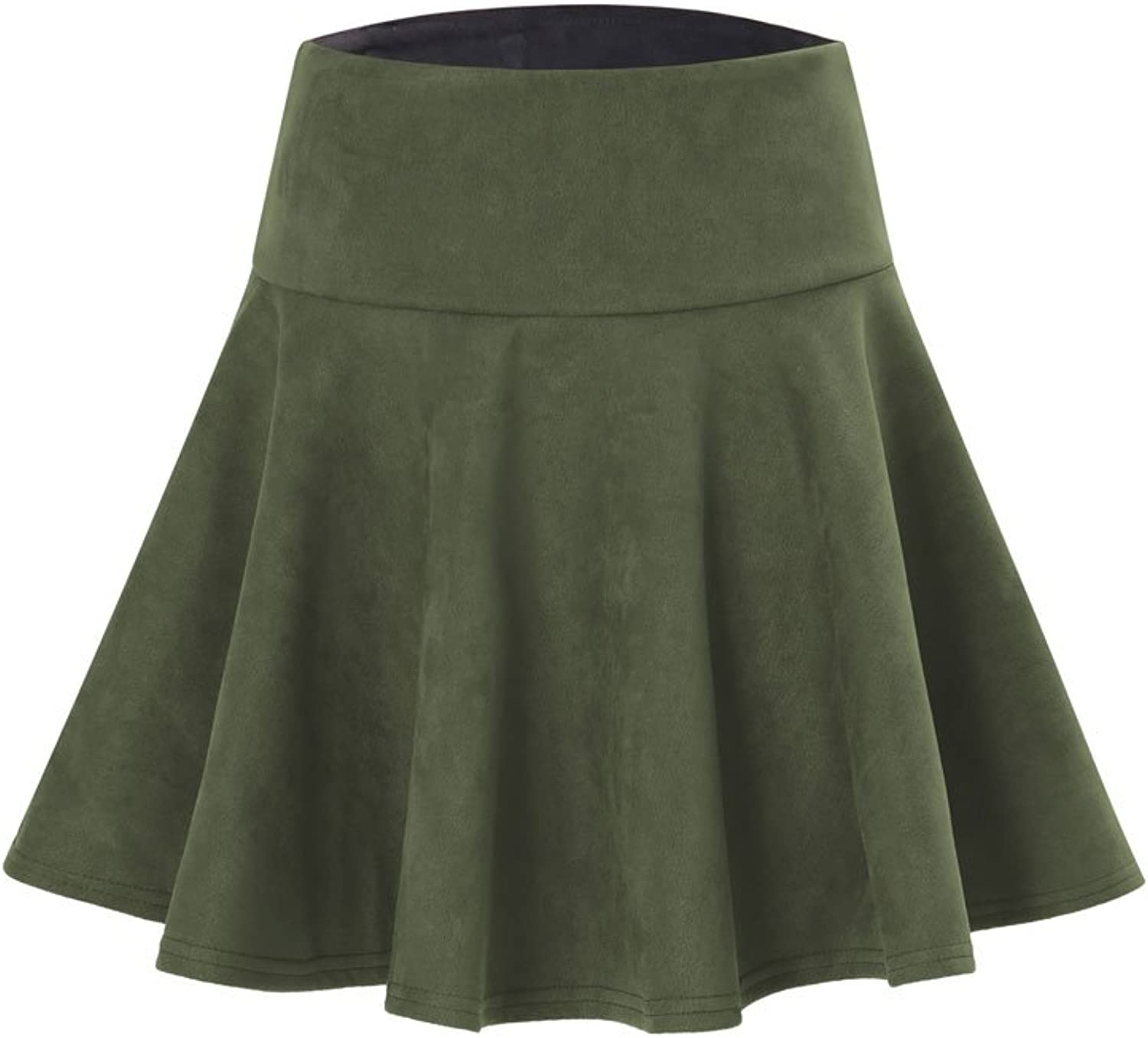 Gamery Women Faux Suede Pleated Short Mini Skirts