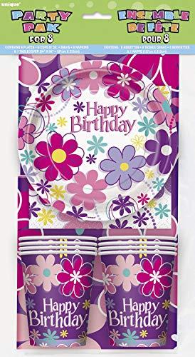 Partyset Happy Birthday 25teilig mit Teller Becher Servietten Kindergeburtstag Einweggeschirr
