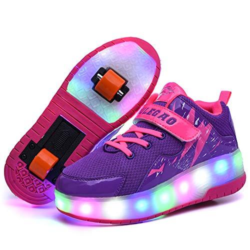 YURU Led Light Rollschuhschuhe Für Kinderschuhe Light Up Two Wheels USB Charging Leuchtende Turnschuhe , Kids Boys Girls,Purple-EU37