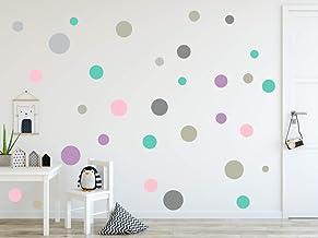 timalo® 73078-SET13-120, wandtattoo, kinderkamer, cirkels, pastel, 120 stuks