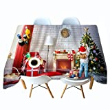Shadow Noble Mantel Lavable Manteles Impresos en 3D de Navidad Papá Noel Mantel Personalizado Mantel Mantel Colgante Personalizado con Regalos 140x220cm