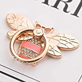 Bee Phone Ring Holder Stand with Crystal Stone Enamel, Allengel Sparkly Finger Kickstand Back Stand Hand Grip with Knob Loop Compatible with Smartphone, Mobile Cute Decor Beauty Phone - Rosegold Pink