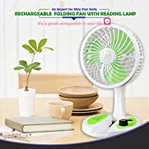 RAKITIC Rechargeable Portable Folding fan with Reading Lamp 2 in 1 table fans for home,table fans kitchen, home small rechargeable high speed