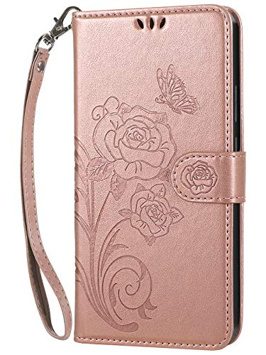 Vinanker Funda iPhone 6 Plus, Funda de Cuero iPhone 6S Plus Libro Cartera Carcasa para iPhone 6 Plus/iPhone 6S Plus (Oro Rosa)