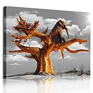 Canvas Wall Art For Bedroom Room Family Bathroom Wall Decor Canvas Art Wall Decorations For Office Black And White View Paintings The Elephant In The Tree Pictures Artwork Modern Kitchen Home Decor