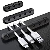 SOULWIT Cable Holder Clips, 3-Pack Cable Management Cord Organizer Clips Silicone Self Adhesive for Desktop USB Charging Cable Power Cord Mouse Cable Wire PC Office Home