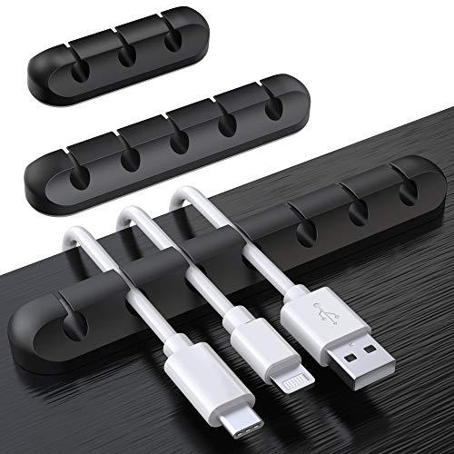 SOULWIT 3 Pcs Autoadhesivo Organizador de Cable, Clips para Cables Duraderos, Sistema de Gestión de Cable para escritorio Cable de carga USB Cable de alimentación Cable de ratón Cable PC Office