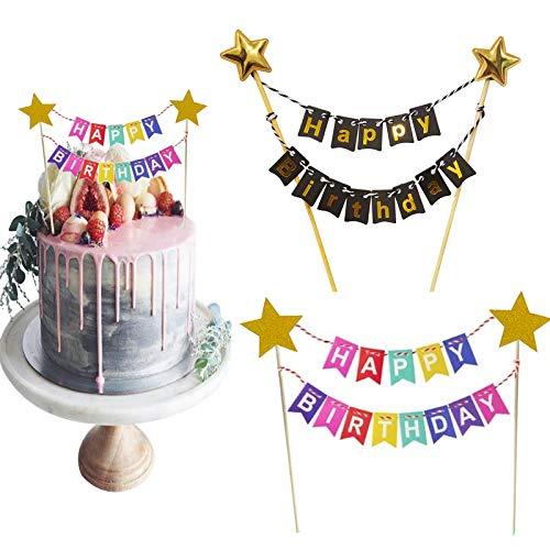 MIZOMOR 2 PCS Wimpelkette Tortendeko Kuchengirlande Happy Birthday Girlande Kuchen Topper Girlande für Jungen Kinder Mädchen Party Hochzeitstorte Geburtstagsfeier Schwarz Gold