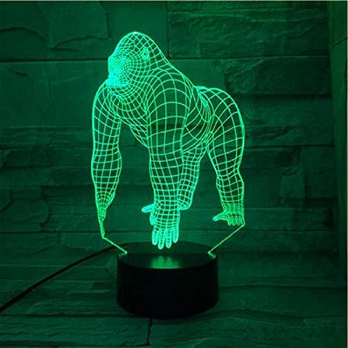 Luz nocturna LED 3D de Orangutan, lámpara 3D LAVA LED de luz nocturna para niños dormitorio decoración de gorila juvenil juguete de Navidad regalo de cumpleaños escritorio lámpara de mesa