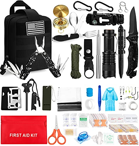 157Pcs Emergency Survival Kit, Professional Survival Gear Tool First Aid Kit, Gifts for Men Dad...