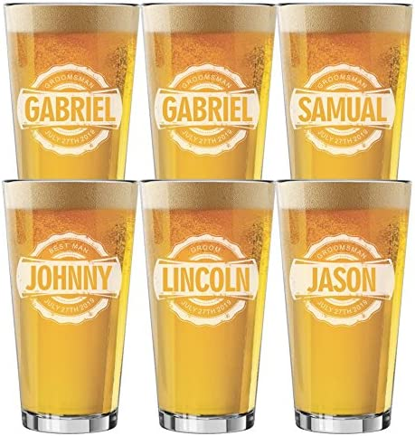 Set of 4 Set of 6 and more Custom Engraved Groomsmen 16 oz Pint Beer Glasses Bottle Cap Style product image