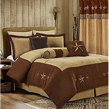 Chezmoi Collection 7 Pieces Western Star Embroidery Design Microsuede Bedding Oversized Comforter Set (Queen 92  x 96 , Brown/Coffee)