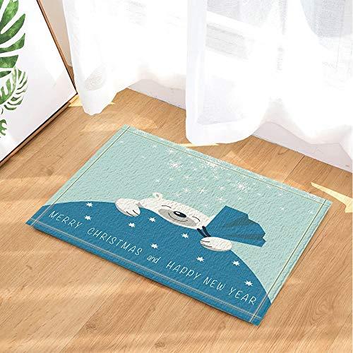 ZZZdz Decoración navideña, The Smiling Polar Bear se Encuentra en la Bolsa de Regalo Alfombras de baño,...