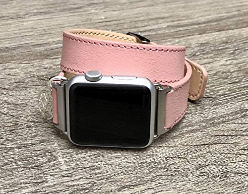 Pink Leather Bracelet for Apple Watch Series 5 4 3 2 1 38mm 40mm 42mm 44mm Handmade iWatch Band 925 Sterling Silver Tree of Life Pendant Adjustable Double Wrap Leather Wristband for Women