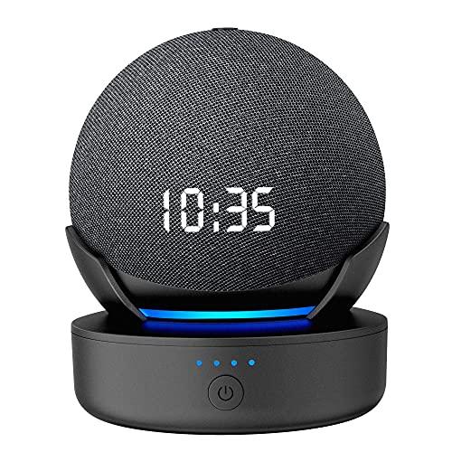 PlusAcc Tragbare Batterie für Dot 4. Gen – 10000 mAh Akku Lautsprecher Zubehör für Schlafzimmer, Wohnzimmer und Außenbereich mit verlängerter Spielzeit, tragbares Ladegerät (Schwarz)