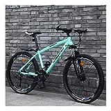 YCHBOS Bicicleta Montaña Hombre Mujer Adulto 24/26 Pulgadas, 27 Velocidad Bici Bicis Montaña Baratas con Doble Freno de Disco, Suspensión Delantera Bloqueable, Rueda de RadiosC-26 Inch