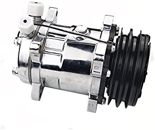 ACTECmax Universal A/C Compressor with Black 2PK Clutch Sanden 508 5H14 R134A Chrome Compressor