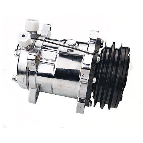 ACTECmax Universal A/C Compressor with Black 2PK Clutch SD 508 5H14 R134A Chrome Compressor
