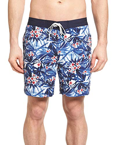 Michael Bastian Men's Tropical Floral Print Board Shorts (Floral Print, Large)