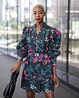 The Drop by @signedblake - Vestido para mujer con cierre de botones frontal y solapas, talla S, color negro y estampado flora