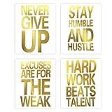 インスピレーショナルな引用 Never Give Up ゴールド箔プリント モチベーションを高める言葉 カードストックアート絵画 ミニマリスト レタリング ホームウォールアートポスター 装飾( 8 x 10インチ、4枚セット、フレームなし)