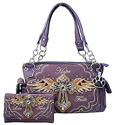 HW Collection Western Rhinestone Cross Angel Wings Faith Hope Love Purse Concealed Carry Handbag and Wallet Set (Purple)
