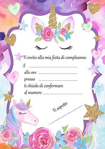 Giomel Inviti Unicorno Biglietti per Festa di Compleanno Bambina 12 Pezzi 14,8 x 10,5